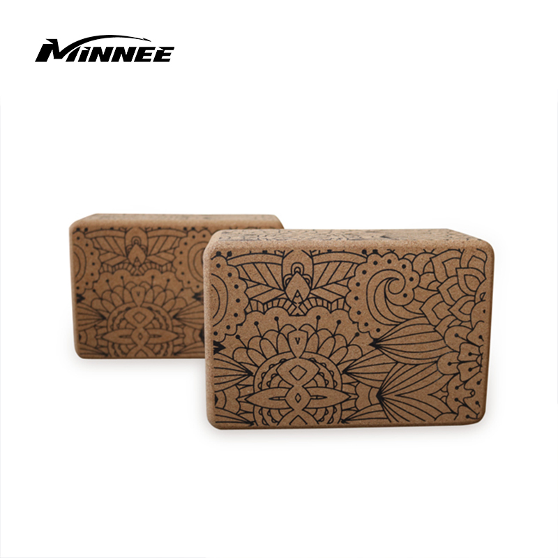 "MINNEE Cork Yoga Block - Natural Eco Yoga Brick | High Density Yoga Block Sustainable Wood Exercise Workout Props for Yoga, Meditation, Pilates, Stretching (9"" x 6"" x 4"")"